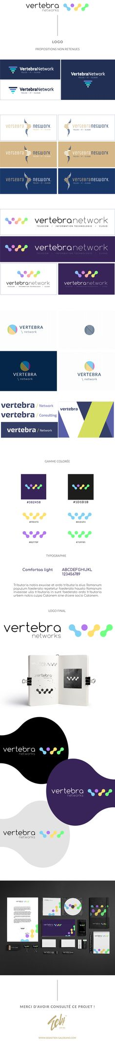 Vertebra est une entreprise de produits digitaux. Ils ont fait appel à moi pour créer leur logo et charte graphique. J'ai développé leur identité visuelle dans leur divers éléments de papeterie.  http://www.sebastien-galdeano.com/portfolio/3-Print/18-Logo/468-Vertebra_Networks.html