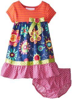 Bonnie Baby Baby Girls' Stripe To Printed Poplin Dress, Navy, 12 Months