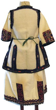 Macedonian woman's folk costume (rear), with dickie, chemise, woolen vest, and apron