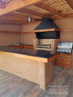 47 incredible outdoor kitchen design ideas for summer Modern Outdoor Kitchen, Backyard Kitchen, Summer Kitchen, Barbecue Design, Brick Bbq, Pergola Swing, Pergola Ideas, Backyard Patio Designs, House Design