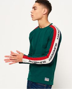 Shop Superdry Mens Trophy Sleeve Band Long Sleeve T-Shirt in Slam Green. Buy now with free delivery from the Official Superdry Store. Superdry Fashion, Superdry Style, Superdry Mens, Hypebeast Outfit, Statement Tees, Boys Wear, Herren T Shirt, Boy Outfits, Shirt Designs