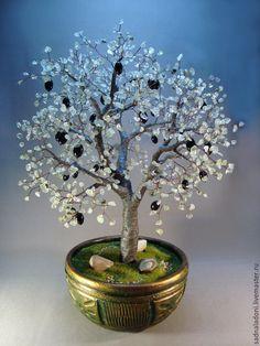 """Купить Дерево оливковое из натуральных камней """"Амфисса"""" - зеленый, мятный, Дерево счастья, оливковое дерево"""