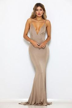 PRE ORDER SHIP DATE APPROX MARCH Abyss by Abby Chile dress bronze color with long tail Made from a premium stretch-jersey fabric with a shine finish lined Model wearing size XS an is Party Dress Sale, Bridal Party Dresses, Pageant Dresses, Quinceanera Dresses, Evening Dresses, Blue Satin Dress, Satin Dresses, Bronze Dress, Dresser