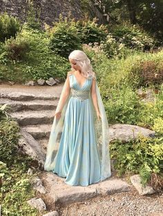 Daenerys Qarth Costume Blue Dress with Belt Throne