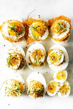 spicy korean deviled eggs / www.iamafoodblog.com