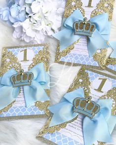 12 counts dozen) Prince theme gold doily birthday party invitations with satin bow and glitter crown cutout on the writing . Cinderella Invitations, Cinderella Theme, Cinderella Birthday, Prince Birthday Theme, Baby First Birthday Cake, Princess Birthday, Invitation Baby Shower, Minnie Mouse Baby Shower, Quinceanera Party