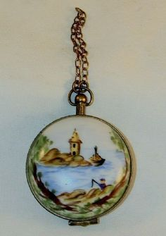 Vintage Limoges Box Decorated Pocket Watch Hand Painted in Limoges, France Numbered