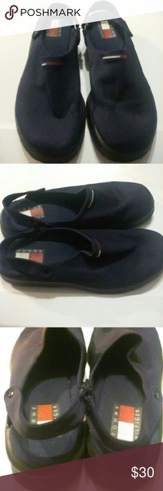 Tommy Hilfiger Slingback Sandals Navy blue slingback sandals. All manmade upper. Rubber soles. Size 8.5. Tommy Hilfiger Shoes Sandals