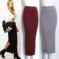 stretch knit ankle-length pencil skirt - Google Search