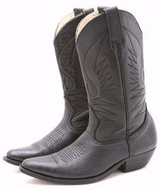 Handmade Custom Mens Cowboy Boots 8.5 D Black Leather Western Made in Mexico  #Unbranded #CowboyWestern