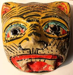 Vintage Paper Mache Mask Light Yellow Color Tiger Hand Made and Hand Painted | eBay