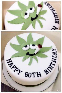 60th birthday cannabis leaf cake