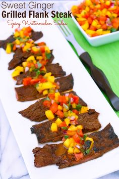 Sweet Ginger Grilled Flank Steak | Sassy Girlz Blog A Sweet, Spicy Ginger Marinade Makes This Flank Steak Great, Spicy Watermelon Salsa Makes It Amazing!  #ChooseSmart #ad