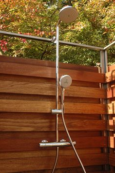 outside shower fixture Oborain Outside Showers, Outdoor Showers, Outdoor Shower Fixtures, Outdoor Fun, Outdoor Decor, Prefab, Wind Chimes, Yard, This Or That Questions