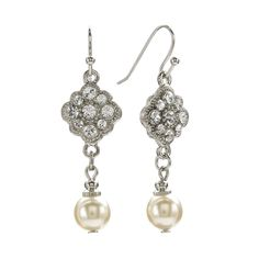 Earring length: Backings: fishhook Design: beaded texture Stones: crystals & simulated pearls Metal: silver tone Model no.: 23372 Not appropriate for children 12 years old and younger. Size: One Size. Nickel Free Earrings, Pearl Drop Earrings, Banquet, Queens Jewels, Women Jewelry, Fashion Jewelry, Pearls, Crystals, Silver