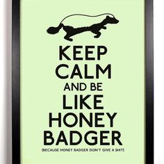 keep calm honey badger - Google Search