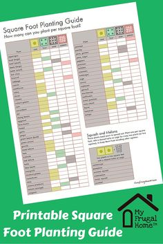 Printable Square Foot Planting Guide