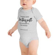 Thank God Infant Onesie Cute Outfits For Kids, Cute Kids, Cute Babies, Cute Onesies, Heather White, Columbia Blue, Handmade Dresses, Baby Bodysuit, Baby Onesie