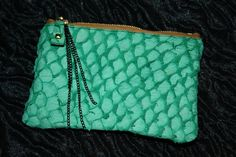 fish leather & recycled leather hand studded phone case/ coin purse