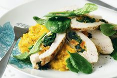 Original chicken with apricots with Pesto sauce