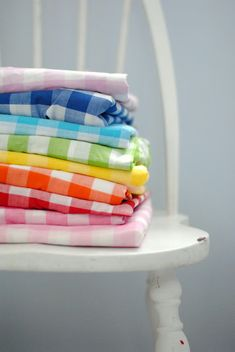 I would love gingham pillows in rainbow colors scattered on a denim couch