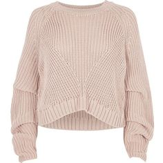 River Island Nude RI Studio rib knit ruched sleeve sweater (3,075 THB) ❤ liked on Polyvore featuring tops, sweaters, ribbed knit top, pink top, river island, long sweater and ruched sleeve top