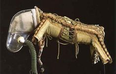 Canine high-altitude partial pressure suit which was used in sub-orbital biological research flights.  Now on display at the National Space Centre.