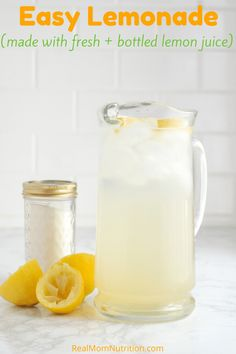 Easy Lemonade (Made with Fresh + Bottled Lemon Juice)