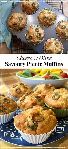 Easy and delicious! Packed with tasty olives and tangy cheese, these fabulous savoury muffins are perfect for picnics and lunch boxes, or as a snack any time. # savoury Baking Cheese and olive picnic muffins Savory Muffins, Savory Snacks, Cheese Muffins, Savoury Muffins Vegetarian, Savory Cakes, Cheese Quiche, Cheese Bread, Healthy Muffins, Savoury Recipes