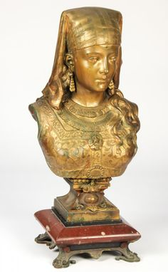 "French Patinated Arabesque Bronze Bust, signed Rimbez. Size: 22"" x 12"" x 8.5"", 56 x 30 x 22 cm (bust); 4"" x 9.5"" x 9.5"", 10 x 24 x 24 cm (base)"
