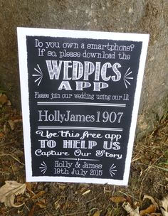 PERSONALISED wedpics app wedding print SIGN chalkboard vintage style PHOTO