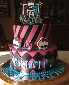 Monster High Draculaura cake! Fuschia, black with blue trim and letters!