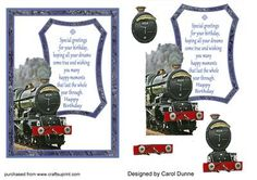 Steam train decoupage and verse on Craftsuprint designed by Carol Dunne - One for the train enthusiast. Decoupage layers with a verse. - Now available for download!