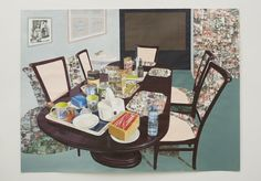 Tea Time in New Haven, Enugu, 2013. Acrylic, collage, colored pencil, charcoal, transfers on paper. 84 x 111 in. (213.36 x 281.94 cm) Collection of Olga Schloss. Image courtesy of the artist. Photo: Jason Wyche