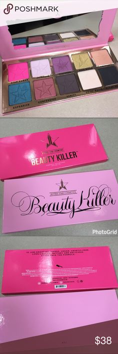 Authentic jeffree star beauty killer palette 💯 authentic jeffree star beauty killer palette 🔪 purchased from the jeffree star website. This eyeshadow palette is in incredible condition with the box. I only used 3 shades (which still look barely touched) violence, rich bitch & Courtney. These eye shadows are so buttery & pigmented. I LOVE this palette I just don't reach for it as much as my others & I have to downsize because we're moving. Price firm unless bundled! 🛍 jeffree star…