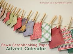 Sewn Scrapbooking Paper Advent Calendar - SewFearless.com - (hint: use Halloween candy if you are trying to get rid of it.)