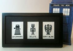 Doctor Who Cross Stitch Pattern - Dalek, Cyberman, Weeping Angel - Exterminate, Delete, Don't Blink!