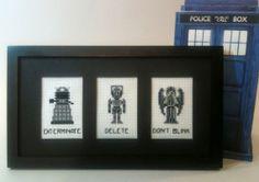 Doctor Who Cross Stitch Pattern - Dalek, Cyberman, Weeping Angel - Exterminate, Delete, Don't Blink!