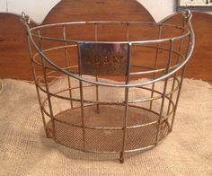 Round Wire Basket, Wire Basket with Handle, Vintage Metal Basket, Kcup Holder, Egg Basket, Easter Basket
