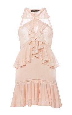 Powder Ruffle Knit Dress by ROBERTO CAVALLI for Preorder on Moda Operandi
