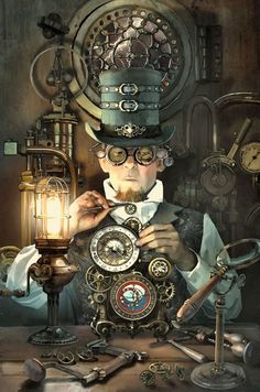 Safari Steampunk Anyone? Steampunk is a rapidly growing subculture of science fiction and fashion. Viktorianischer Steampunk, Steampunk Kunst, Steampunk Artwork, Steampunk Gadgets, Steampunk Design, Steampunk Cosplay, Steampunk Clothing, Steampunk Makeup, Steampunk Drawing