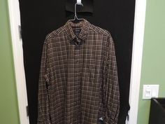 Faconnable Designer Brown Plaid Shirt SZ XL Made in Italy Mint Quick Ship #Faconnable #ButtonFront