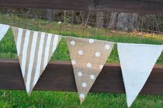 9 foot burlap Party Banner garland bunting pennant by funkyshique Pennant Flags, Bunting Garland, Flag Banners, Burlap Garland, Diy Bunting, Party Garland, Burlap Crafts, Diy Crafts, Buntings
