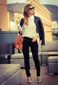 office look,black,white,fashion women's look in black leather jacket