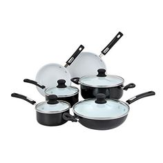 Hamilton Beach 10pc Aluminum Cookware Set Black White Ceramic NonStick Interior Flared Edge >>> For more information, visit image link.-It is an affiliate link to Amazon.