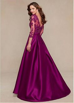 Elegant Satin V-neck Floor-length A-line Mother of the Bride Dresses with Lace Appliques