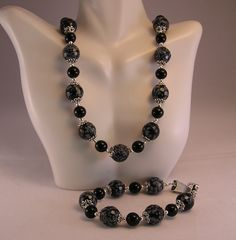 Snowflake Obsidian Necklace and Bracelet, Stone Bead Jewelry Set, Stone Bead Necklace, Stone Bead Bracelet