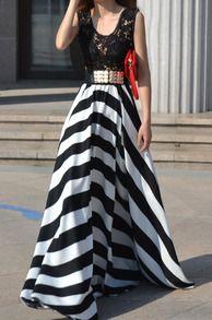 Contrast Semiformal Floaty Lace Hollow Striped Maxi Dress