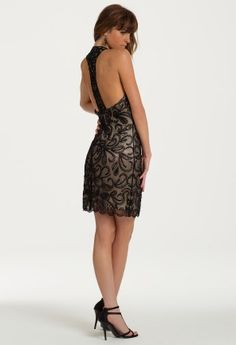 Floral Beaded Scalloped Halter Dress from Camille La Vie and Group USA modeled by Aliana Lohan #homecomingdresses #dresses