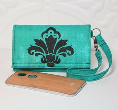 Cell Phone Wristlet Wallet With Cards, iPhone 6 Wallet Wrislet, Galaxy, Nexus, Moto X iPhone Case NEW STYLE TECH Wallet / Stamped Turquoise